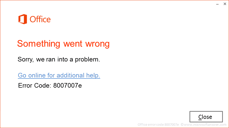 Office error code 8007007e