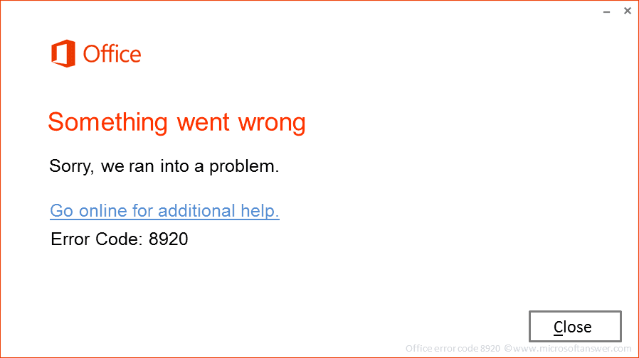 Office error code 8920